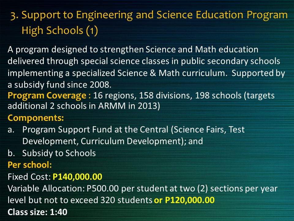 3. Support to Engineering and Science Education Program High Schools (1)