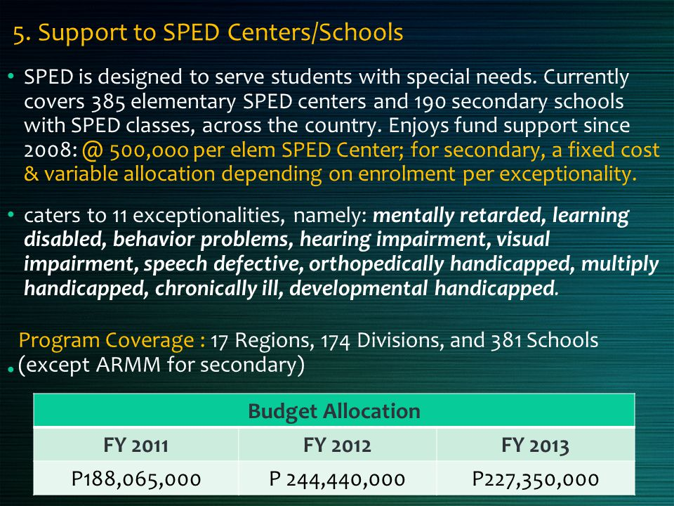 5. Support to SPED Centers/Schools