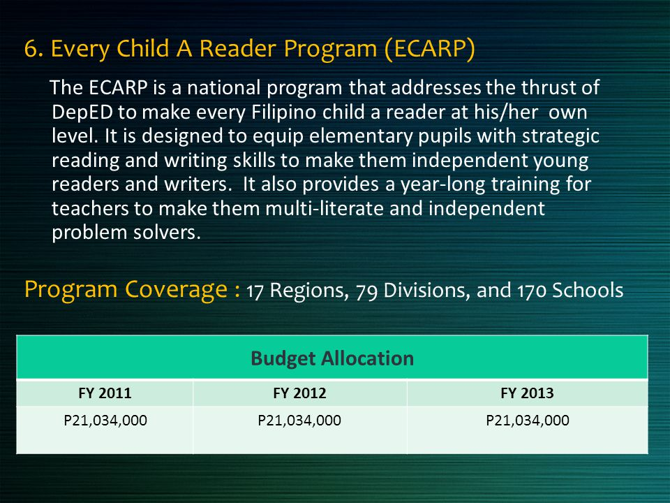 6. Every Child A Reader Program (ECARP)