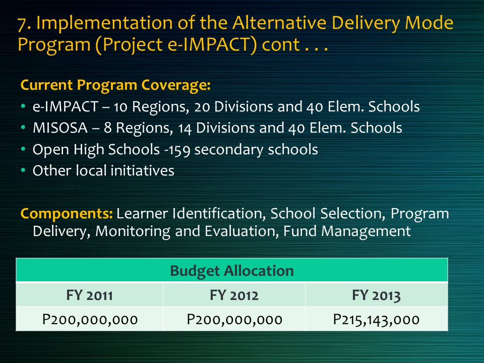 7. Implementation of the Alternative Delivery Mode Program (Project e-IMPACT) cont . . .