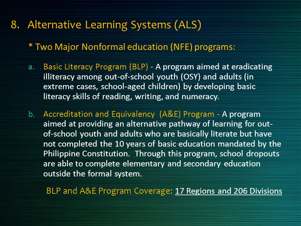 8. Alternative Learning Systems (ALS)