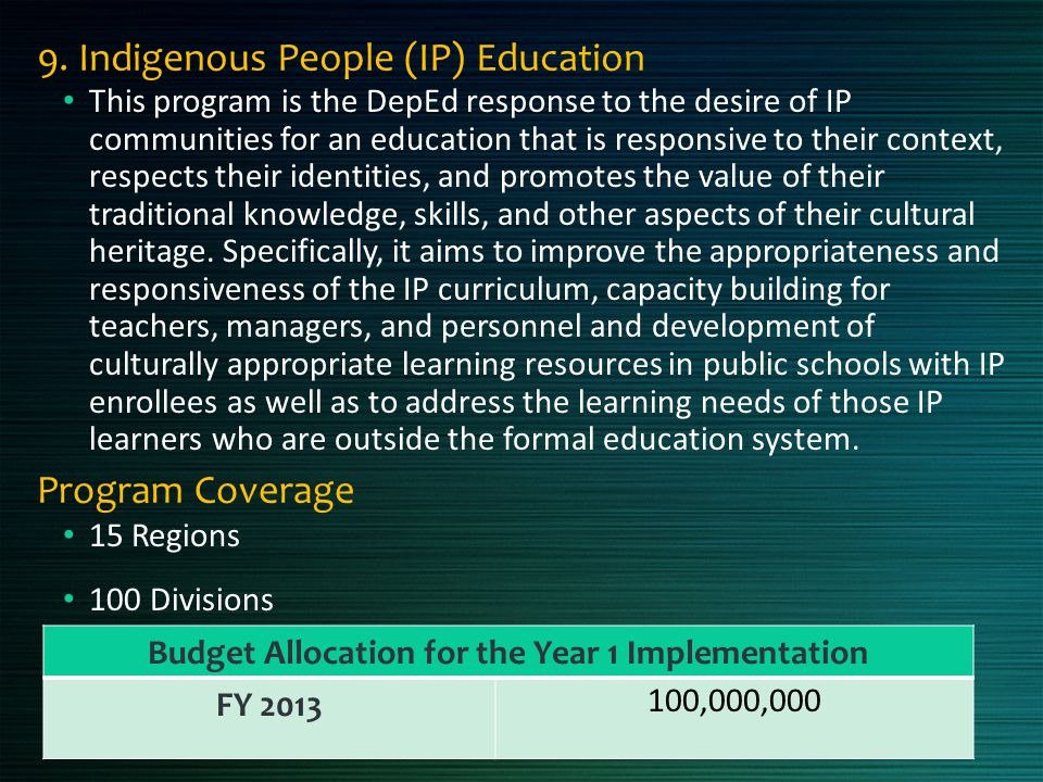 9. Indigenous People (IP) Education