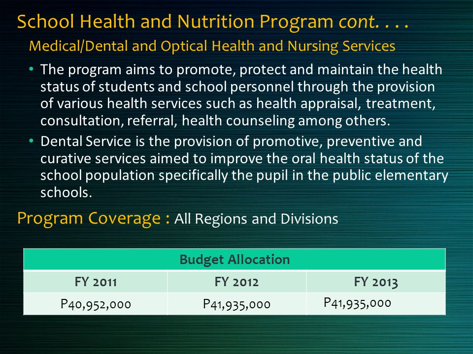 School Health and Nutrition Program cont. . . .