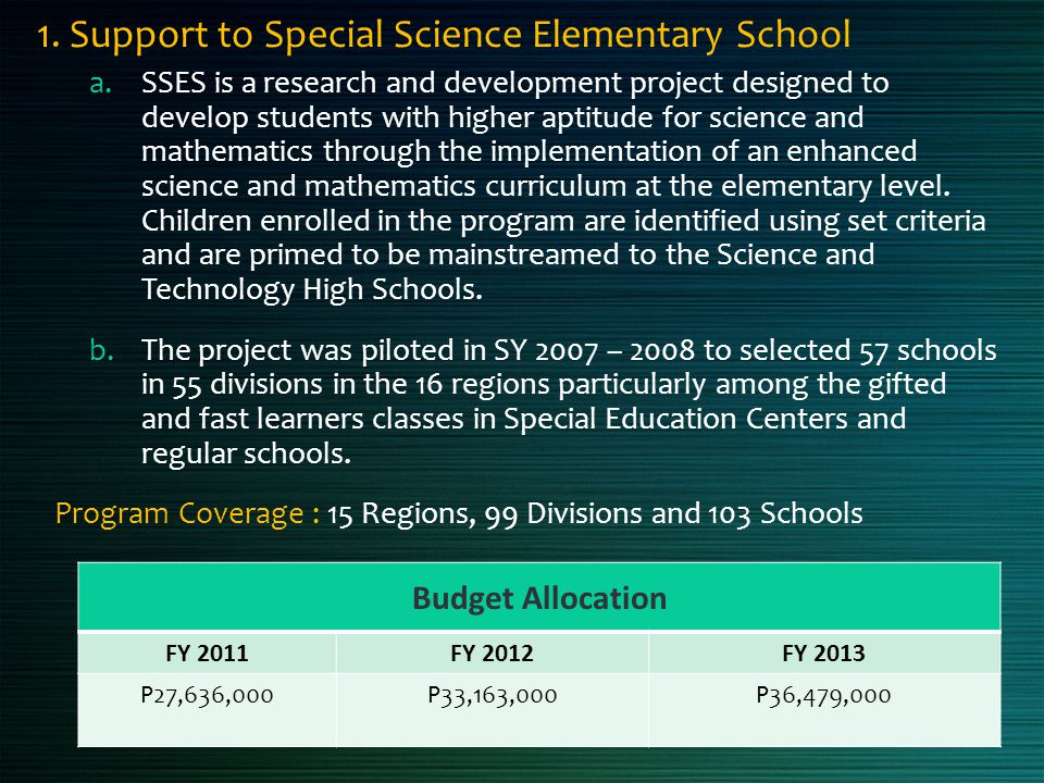 1. Support to Special Science Elementary School