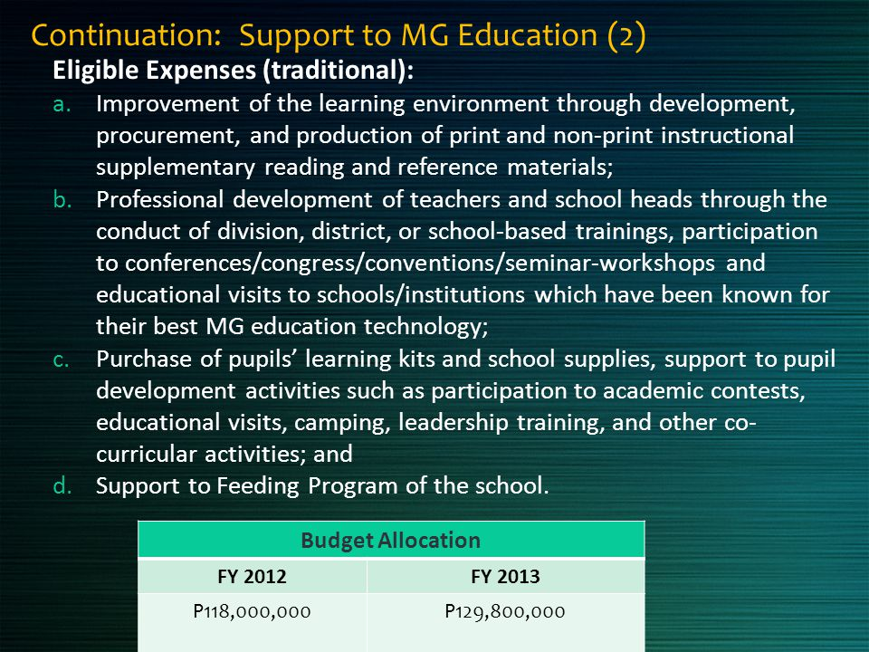 Continuation: Support to MG Education (2)