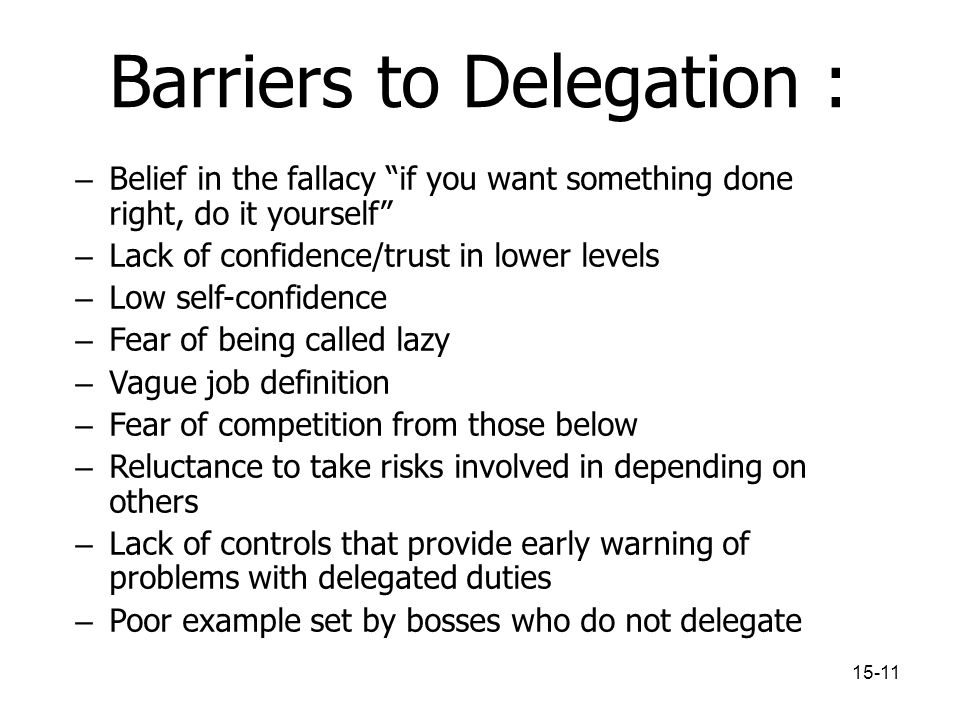 Barriers to Delegation :