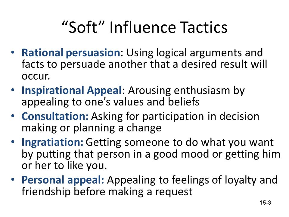 Soft Influence Tactics
