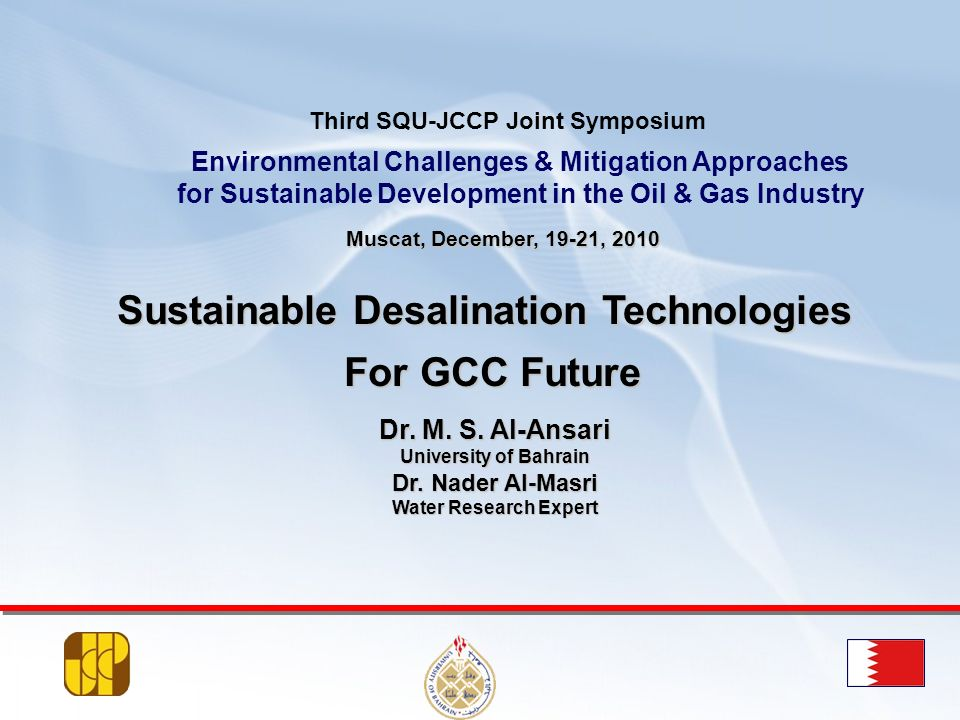 Sustainable Desalination Technologies For GCC Future
