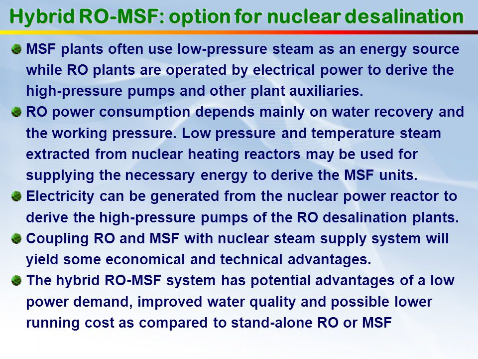 Hybrid RO-MSF: option for nuclear desalination