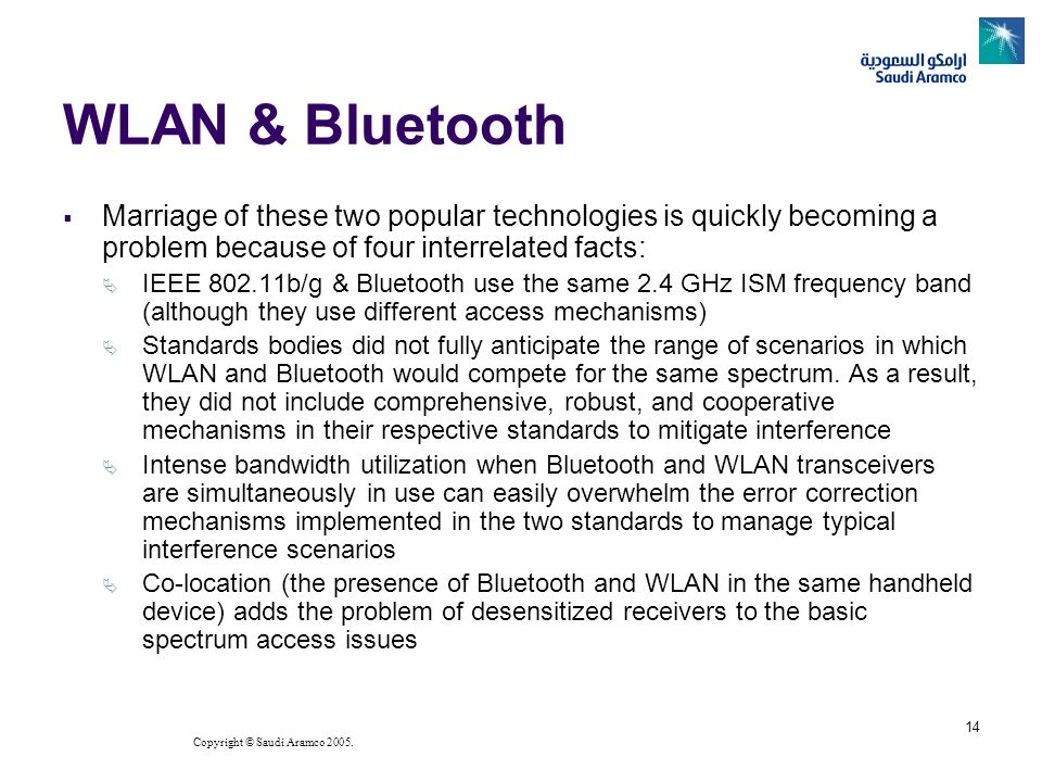 WLAN & BluetoothMarriage of these two popular technologies is quickly becoming a problem because of four interrelated facts: