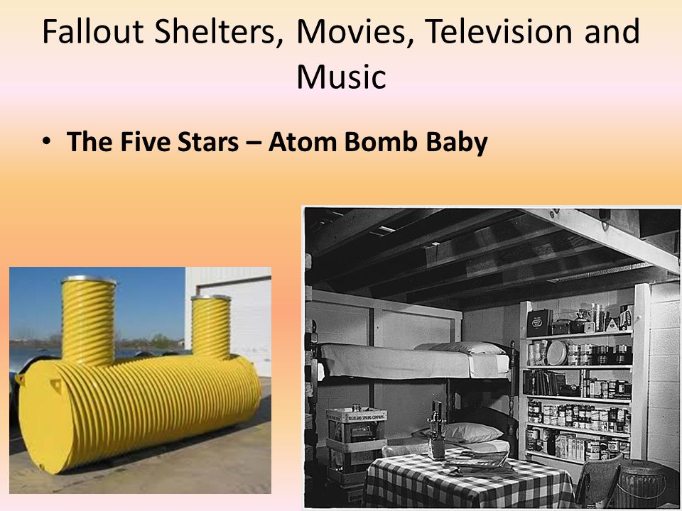 Fallout Shelters, Movies, Television and Music