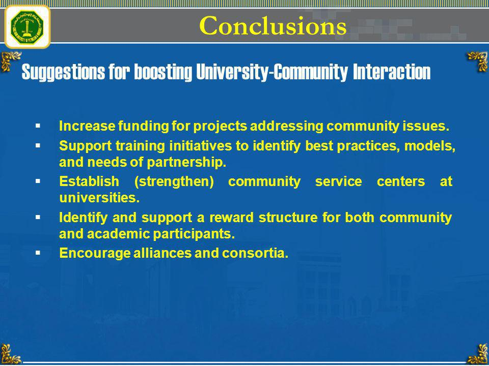 Suggestions for boosting University-Community Interaction