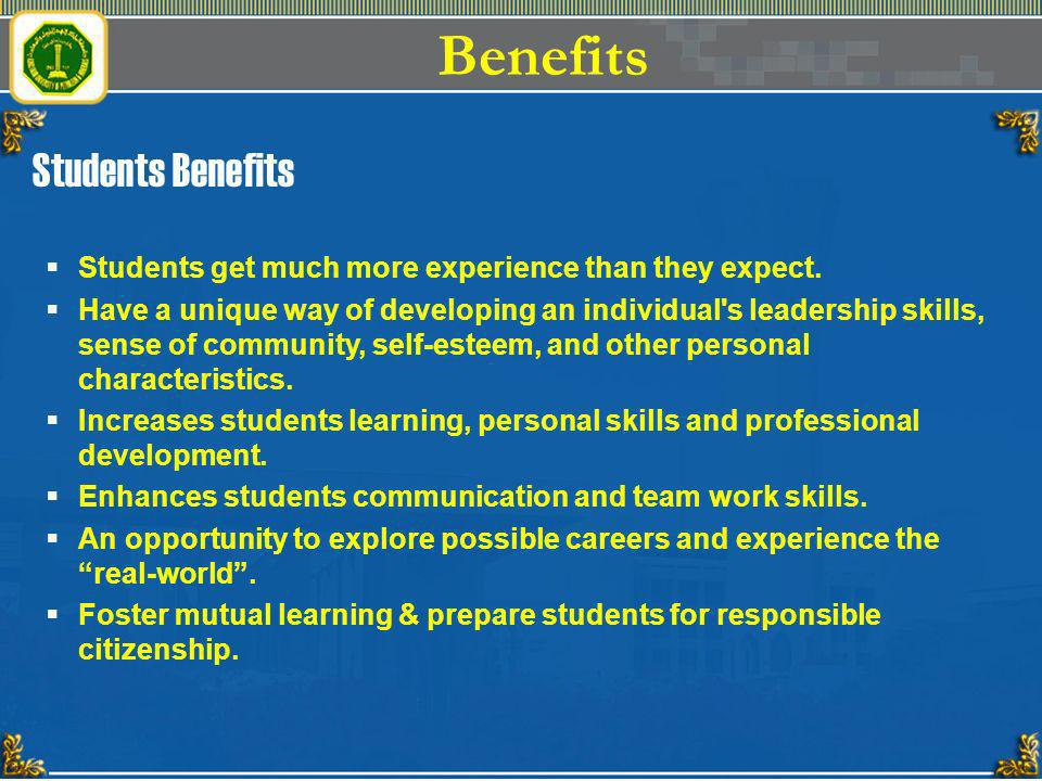 Benefits Students Benefits