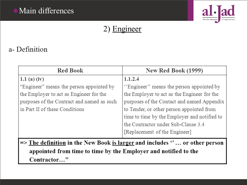 Main differences 2) Engineer a- Definition Red Book