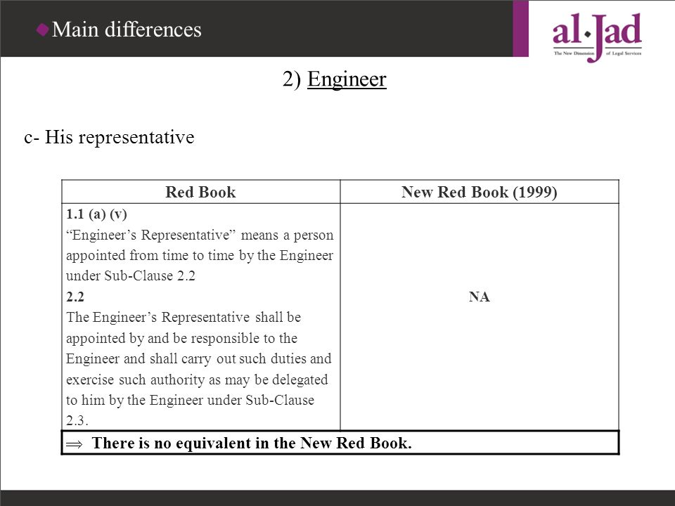 Main differences 2) Engineer c- His representative Red Book