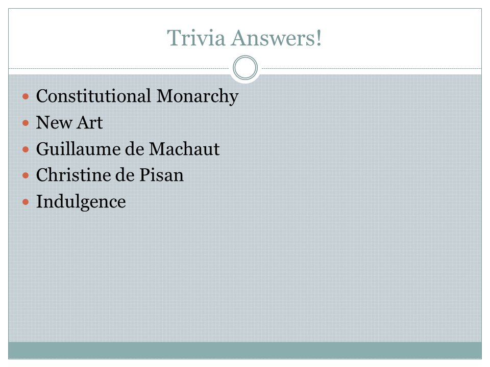 Trivia Answers! Constitutional Monarchy New Art Guillaume de Machaut