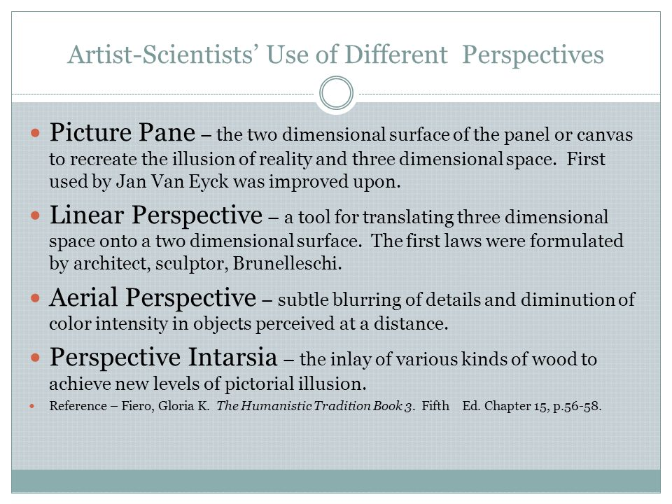 Artist-Scientists' Use of Different Perspectives