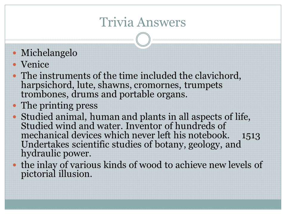 Trivia Answers Michelangelo Venice