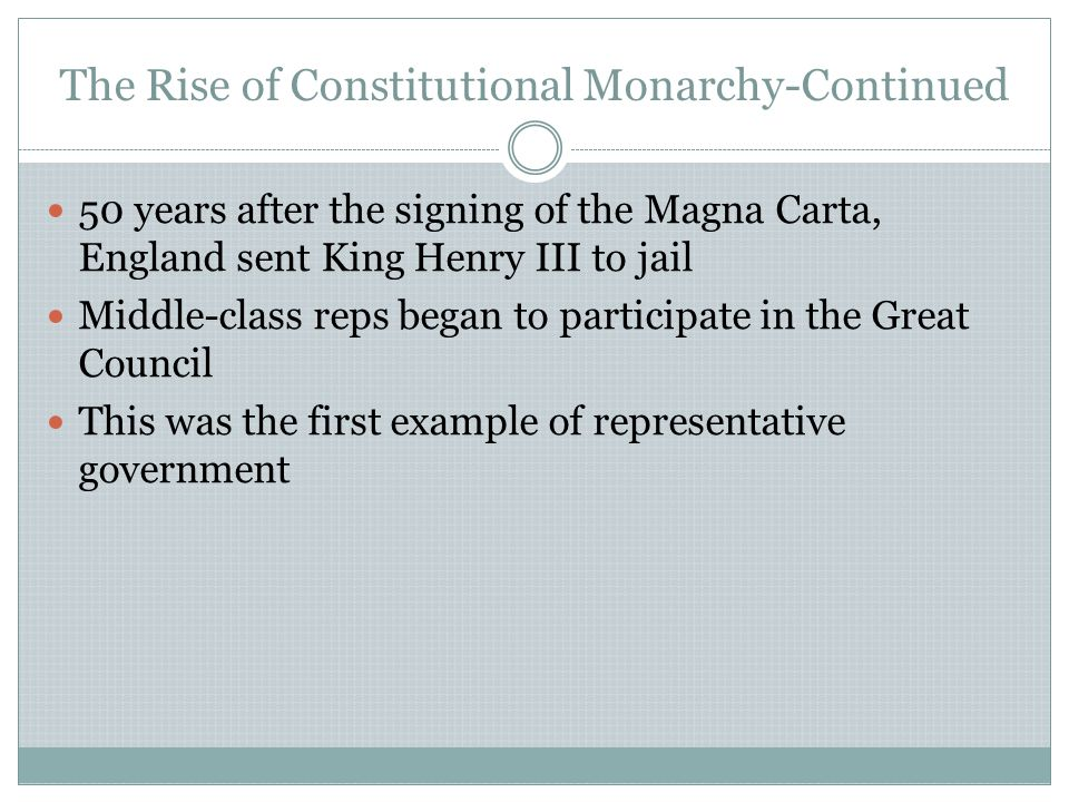 The Rise of Constitutional Monarchy-Continued