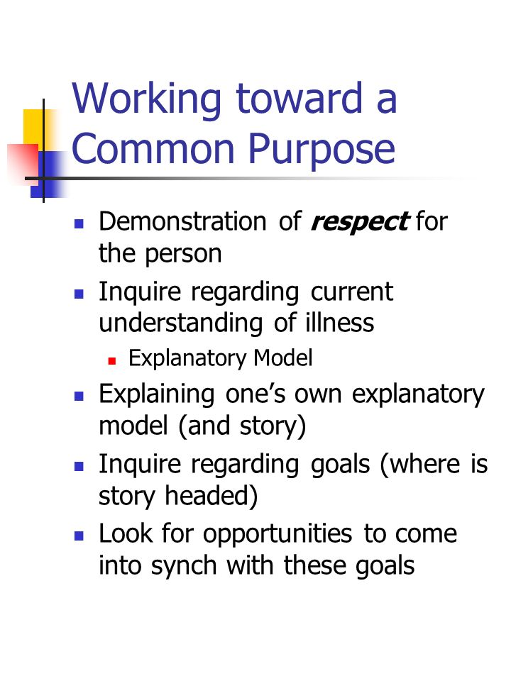 Working toward a Common Purpose