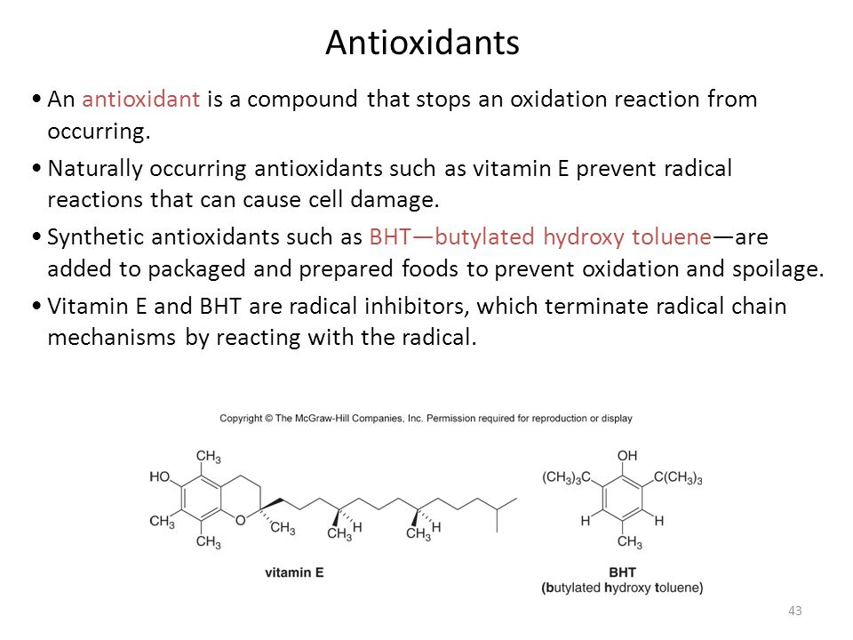 Antioxidants An antioxidant is a compound that stops an oxidation reaction from occurring.