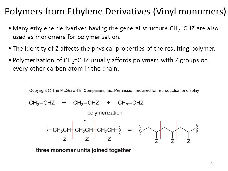 Polymers from Ethylene Derivatives (Vinyl monomers)