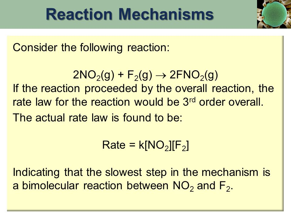 Reaction Mechanisms Consider the following reaction: