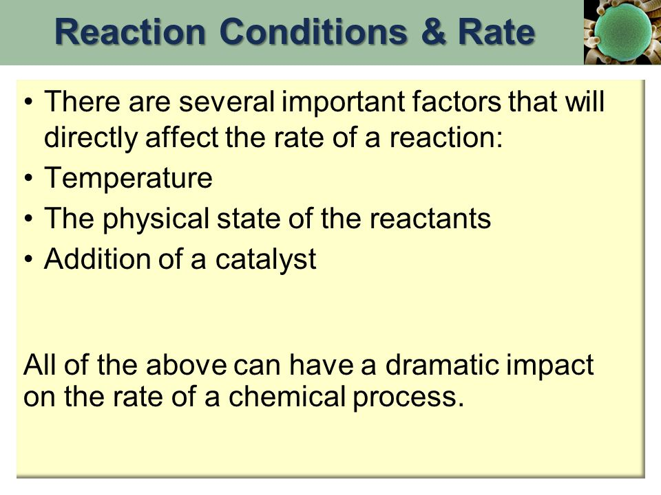 Reaction Conditions & Rate