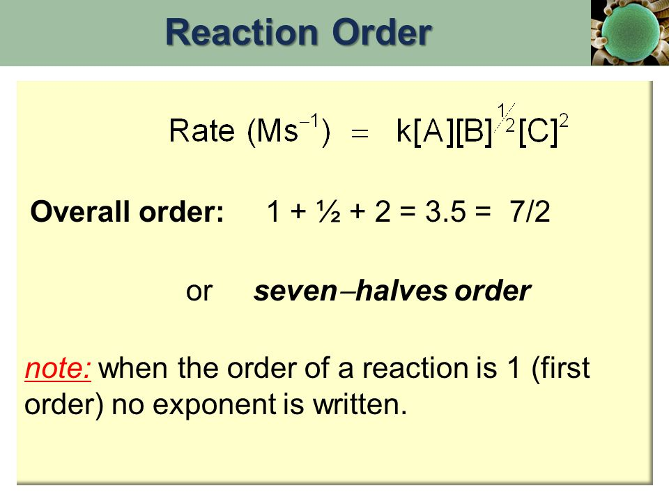 Reaction Order Overall order: 1 + ½ + 2 = 3.5 = 7/2