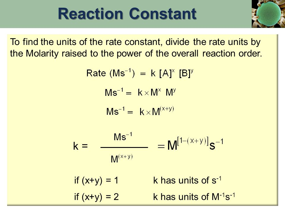 Reaction Constant To find the units of the rate constant, divide the rate units by the Molarity raised to the power of the overall reaction order.