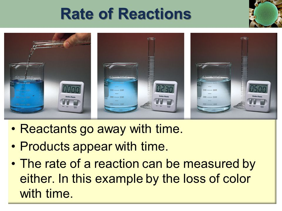 Rate of Reactions Reactants go away with time.