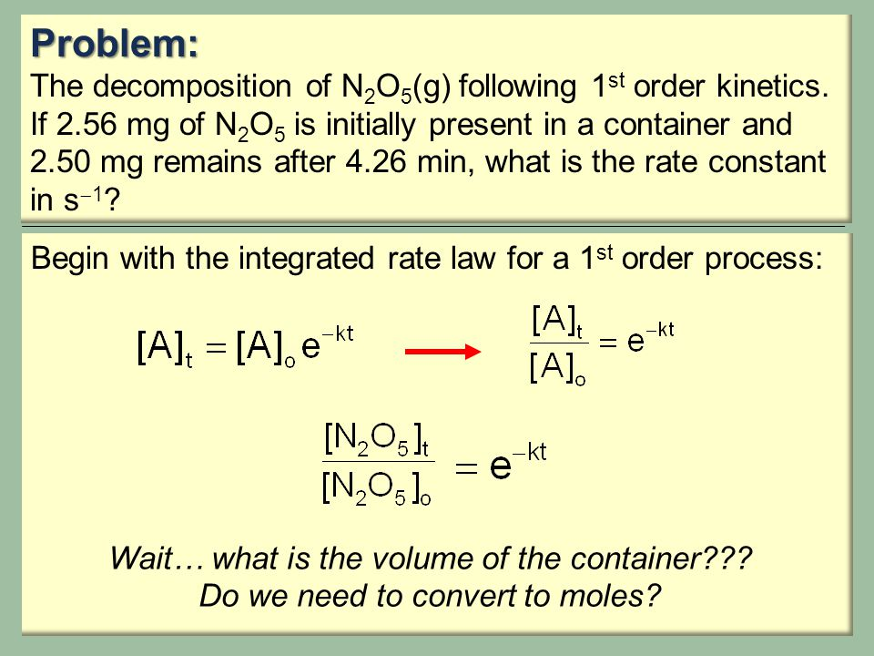Problem: The decomposition of N2O5(g) following 1st order kinetics.