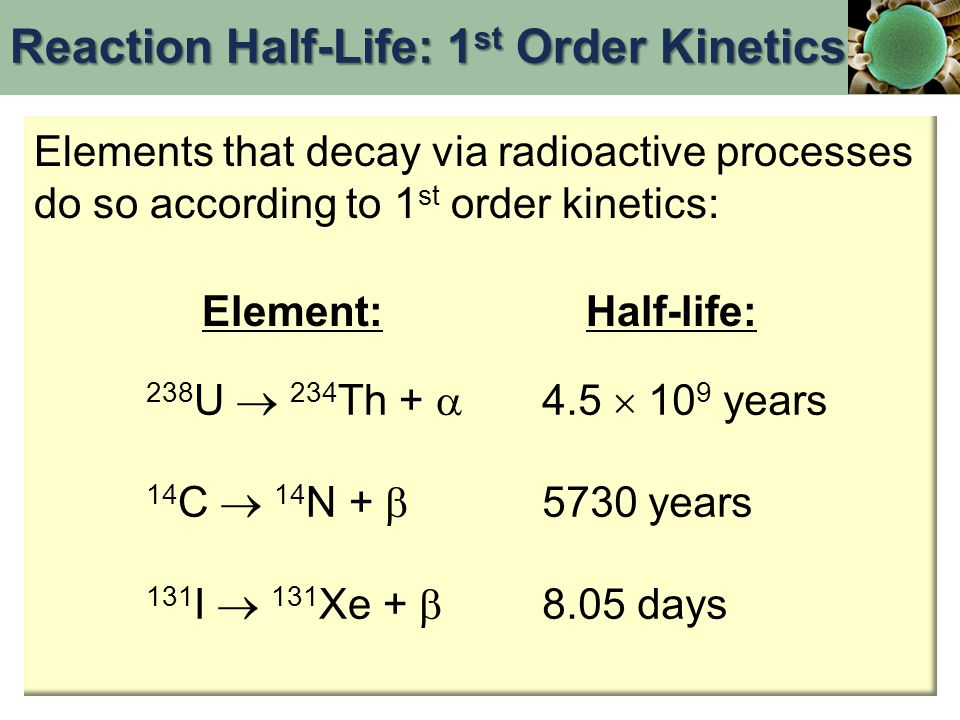 Reaction Half-Life: 1st Order Kinetics