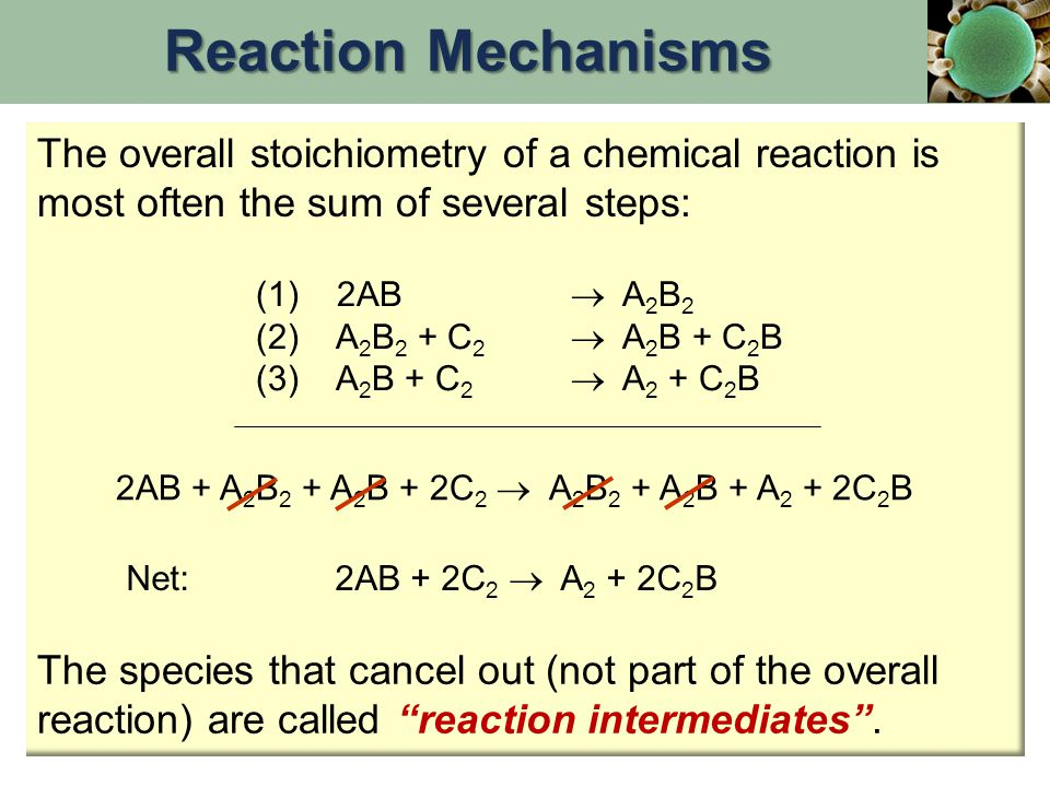 Reaction Mechanisms The overall stoichiometry of a chemical reaction is most often the sum of several steps: