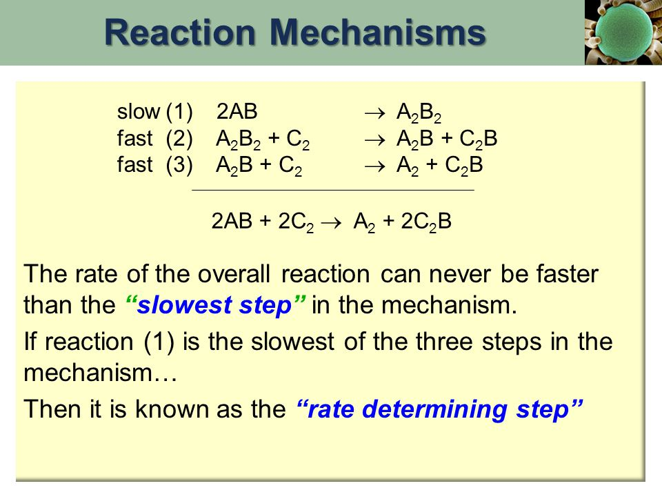 Reaction Mechanisms slow. fast. (1) 2AB  A2B2. (2) A2B2 + C2  A2B + C2B. (3) A2B + C2  A2 + C2B.