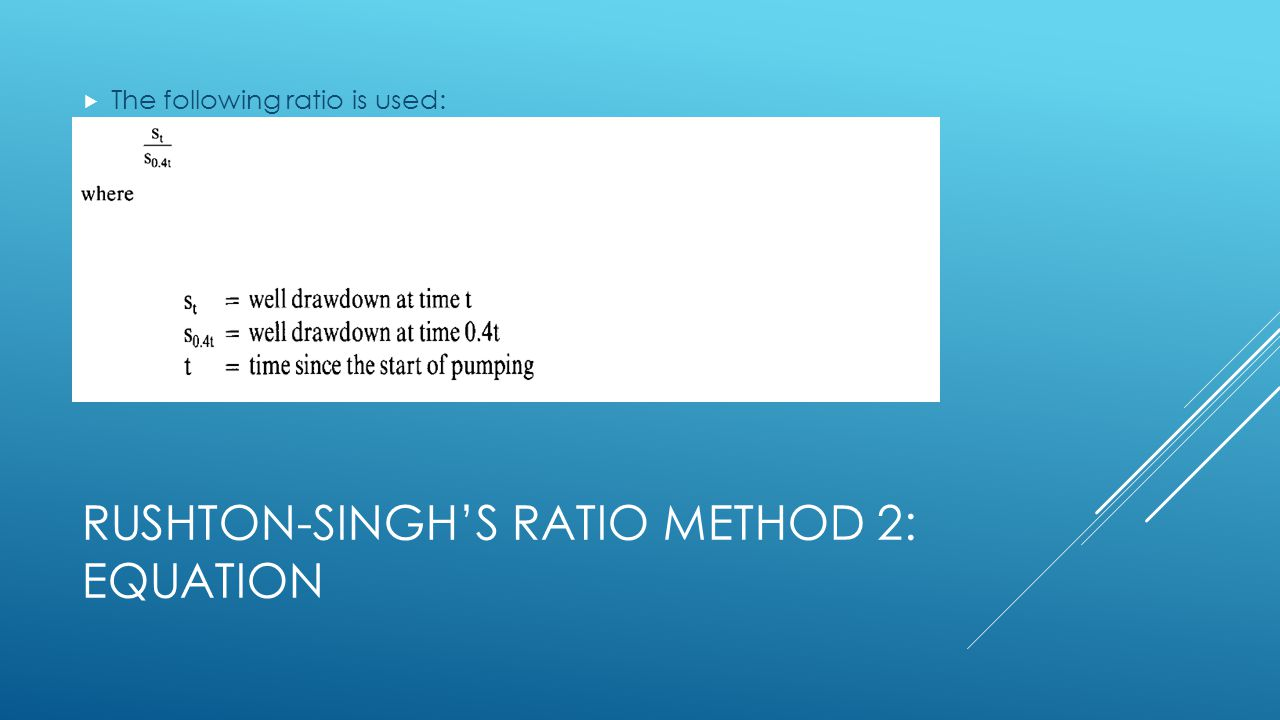 Rushton-Singh's ratio Method 2: Equation