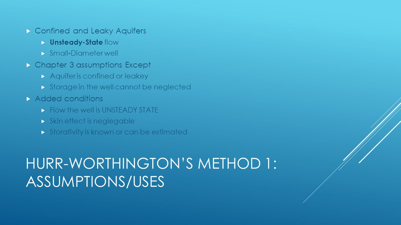 Hurr-Worthington's Method 1: assumptions/Uses