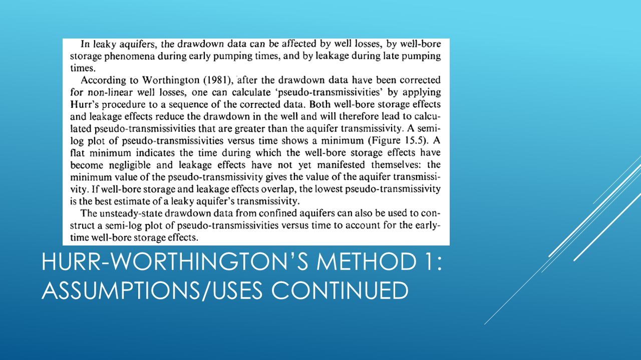 Hurr-Worthington's Method 1: assumptions/Uses continued