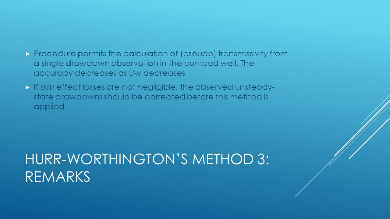 Hurr-Worthington's Method 3: Remarks