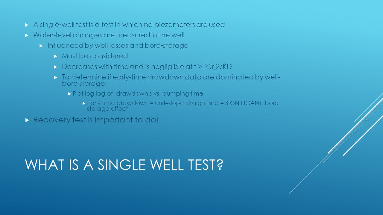 What is a Single Well Test