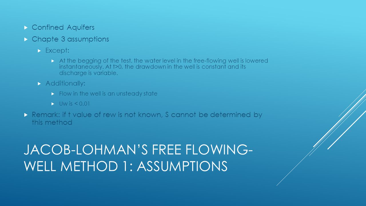 Jacob-Lohman's free flowing-well method 1: Assumptions