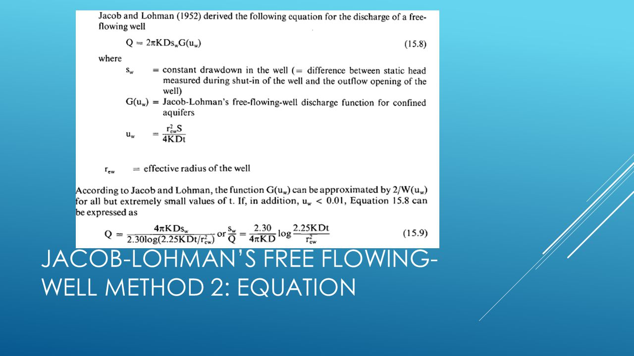 Jacob-Lohman's free flowing-well method 2: Equation