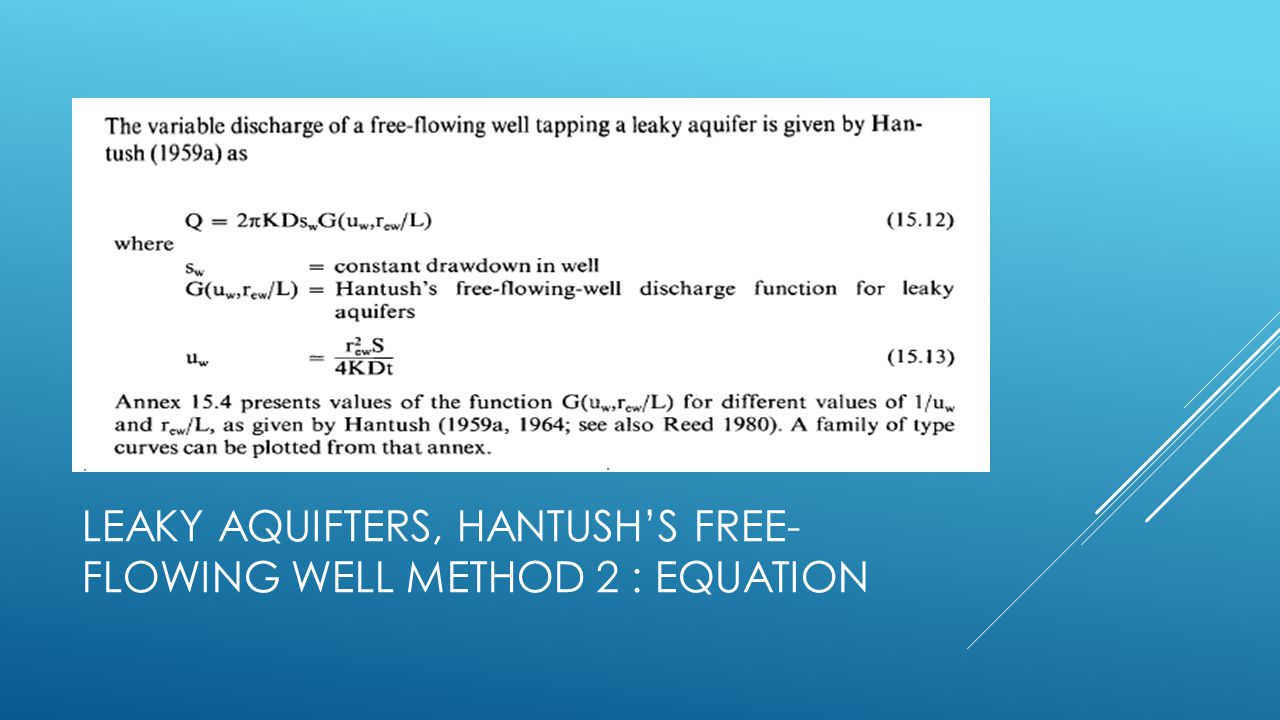 Leaky aquifters, Hantush's free-flowing well method 2 : Equation