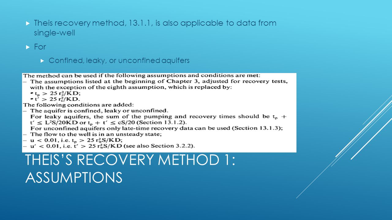 Theis's Recovery Method 1: Assumptions