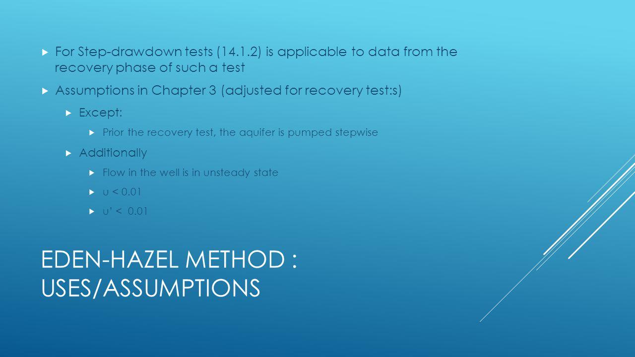 Eden-Hazel Method : uses/Assumptions