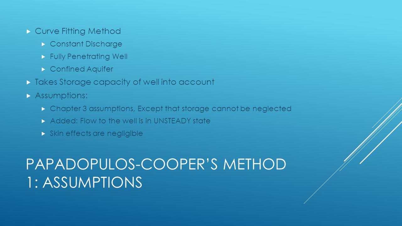 Papadopulos-Cooper's Method 1: assumptions