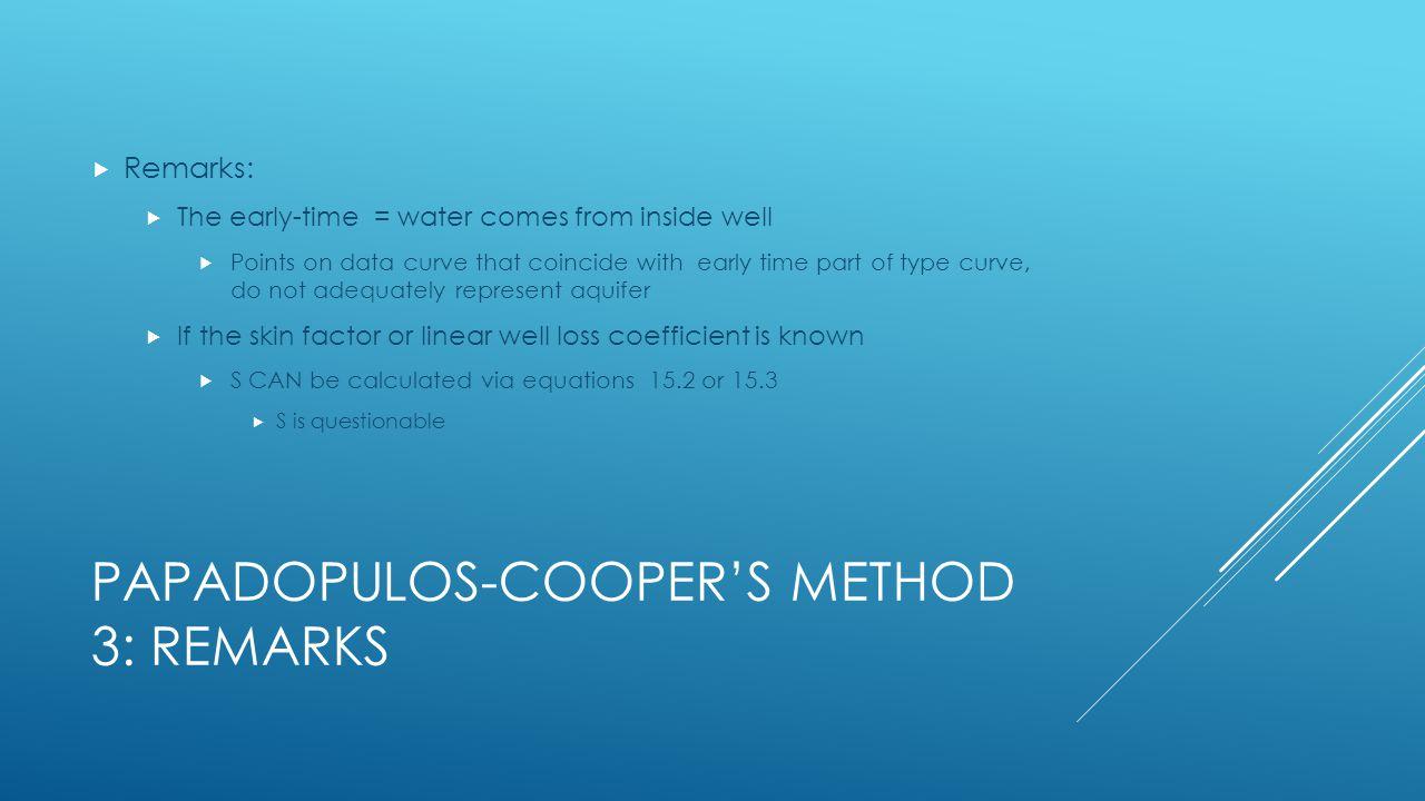 Papadopulos-Cooper's Method 3: remarks