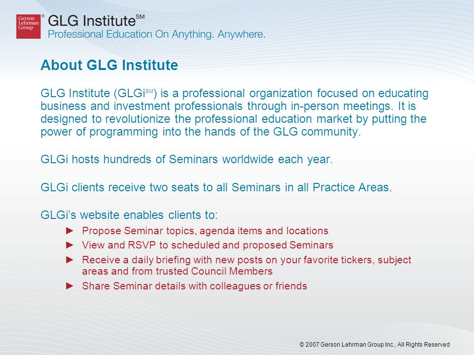 About GLG Institute