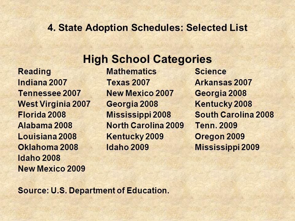 4. State Adoption Schedules: Selected List