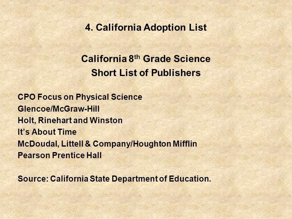 4. California Adoption List